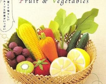 Felt Fruits and Vegetables Pattern, Japanese PDF Kawaii Ebook, Sew Felt Patterns, Free Shipping No.57
