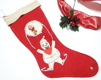 1950's Christmas Stocking with Appliques