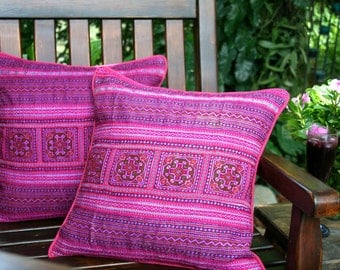 Boho Pillows, Colorful Embroidered Pink Hmong Cushion Cover 16 inch - Free Shipping Worldwide