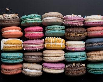 Paris Food Photograph, Multicolored Macarons, Fine Art Food Photograph, Large Wall Art, Gallery Wall Art, Paris Kitchen Decor