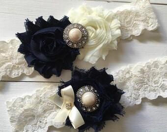 Navy and Ivory Wedding Garter, Navy Blue Wedding Garter, Bridal Garter, Navy Garter, Lace Garter Set, Custom Garter, Toss Garter Included
