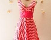 2015 CLEARANCE SALE - Summer Dress Pink Stripe Dress Vintage Inspired Dress Pin Up Rockabilly Dress - Size XS