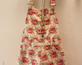 Floral Shortalls - Floral Overall - Light Khaki with Redish Orange Rose - Shabby Chic-  Size XS-S