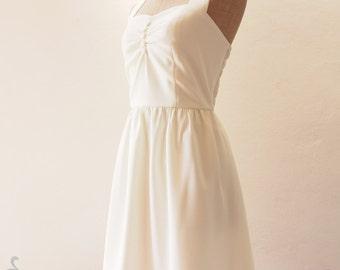 Beach Wedding Dress White Vintage Dress, White Party Dress, Pin Up Dress, White Summer Dress, White Bridesmaid Dress - XS-XL, Custom