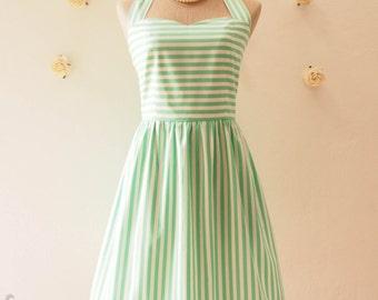Vintage Sundress Green white Stripe Dress Summer Dress Gift for Women Green Party Dress Spring Dress Vintage Modern Dress , Size S