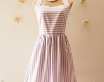 Summer Dress Pale Purple Dress Stripe Dress Lavender Bridesmaid Dress Cute Dress Vintage Tea Dress -XS-XL, Custom