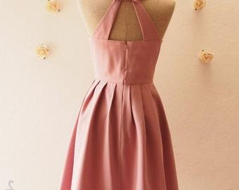 Dusky Pink  Dress, Dusky Pink Party Dress, Pink Backless Dress, Vintage Bridesmaid Dress, Pink Summer Dress, Vintage Inspired, Love Potion