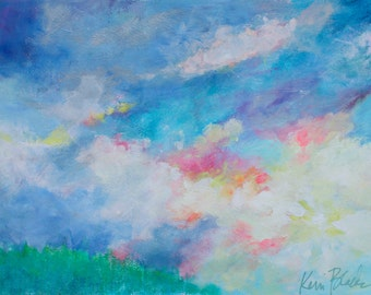 "Abstract Skyscape, Cloud Painting, Work on Paper, Blue, Original Wall Art ""Morning Over the Mountains"" 16x12"""