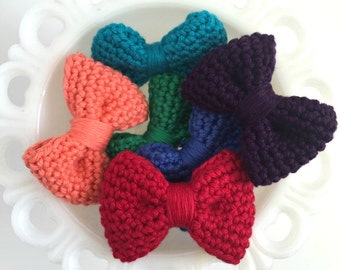 Crochet Hair Bow: Red - Crochet Hair Clip - Crochet Bowtie - Infant - Photography Props - Toddler - Hello Kitty