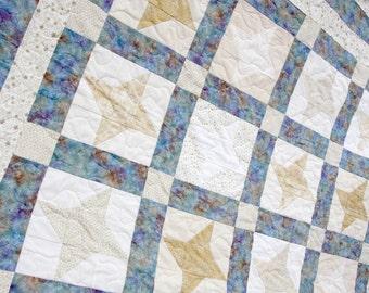 Cream & Gold Star Patchwork Quilt, Handmade by PingWynny