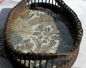 1800s Victorian Large WICKER TRAY With Raw Silk Asian Textile Under Glass