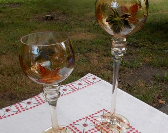 Set of Two Very Large Glass GOBLETS  Autumn Leaf Pattern    Gold Toned Glass  Marked  Layer A La Main A L eau Froide in French