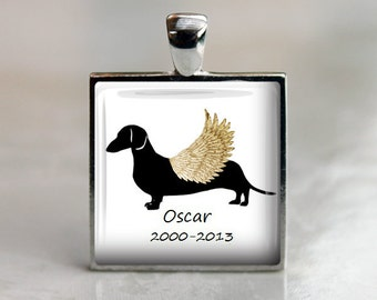 Dachshund Dog Memorial Silhouette Pendant Necklace or Keychain