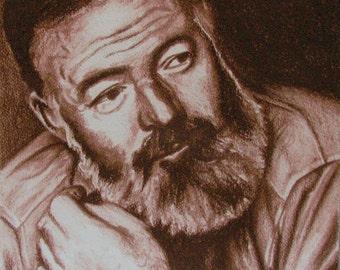Original Ernest Hemingway portrait in sanguine pastel on watercolor paper