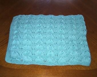 New item!! Hand Knit Baby / Toddler Blanket - Robin Egg Blue