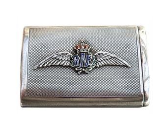 Vintage 1920s English Sterling Silver Vesta Case, Royal Air Force, Large
