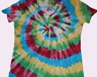 Size 16 Tie Dyed Womens V-neck Summer T-shirt  TDC169