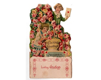 Vintage 3D Valentines Day Card, Pop Up Valentine Card, Heart Envelope, Boy and Girl, Pink Rose, Made in Germany, Fold Out, Embossed, Die Cut