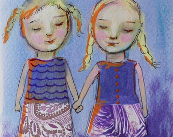 Sisters or Best Friends Original Painting Holding Hands Love Friendship Small Mixed Media Painting Gift for Girl or Woman