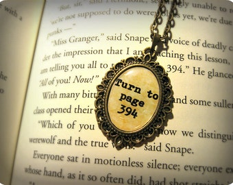 Turn To Page 394, Alan Rickman, Severus Snape, Harry Potter Inspired Necklace Pendant Antique Bronze