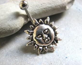 Sun Belly Ring, Sunshine Belly Bar Non Dangle Belly Button Ring, Silver Bellybutton Ring Belly Piercing Naval Ring