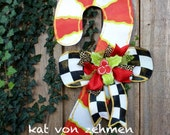 Christmas Door Hanger Screen Wire Mackenzie Childs Inspired Red and White Candy Cane with Black and White Checkered Bow and Mistletoe