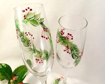 Christmas champagne flutes hand painted set of two glasses