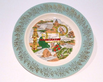 Washington State Plate Vintage State of Washington collectible Plate Olympic Peninsula Totem Pole Evergreen Grand Coulee Dam Mount Rainier