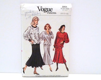 Blouson and Skirt Vogue 9964 Easy Sewing Pattern Never Used uncut Size 18 20 22 Plus Size Athleisure Pullover Dolman Sleeves Sweatshirt Top