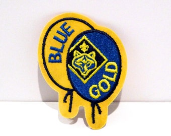 Blue and Gold Boy Scouts Embroidered patch Navy and Gold with Wolf Head Logo Balloon Shape sew on patch Cub Scout Rectangle Patch 90s 2000s