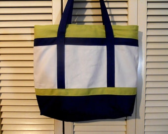 Color block tote in white, chartreuse and navy