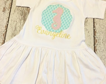 girls summer seahorse dress, baby girls seahorse dress, seahorse applique dress, seahorse party, seahorse birthday party theme