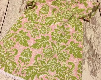 Madelynn dress- pink and green damask, girls damask dress, lilly dress, lilly pulitzer inspired dress