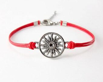Sun Bracelet, Red Cord Bracelet, Friendship Bracelet