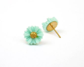 Mint and Gold Daisy Stud Earrings