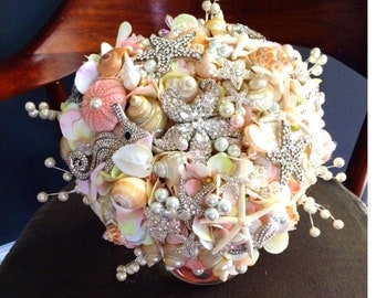 Blush Seashell Brooch Bouquet READY TO SHIP