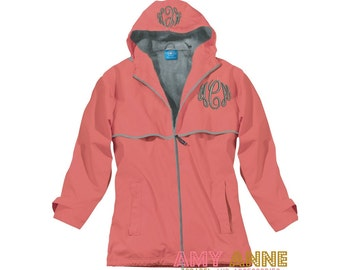 Charles River New Englander Monogrammed Rain Jacket Waterproof More Colors XS-3X Gray Mesh Lined Coat ~ Full Zip ~ Hooded