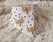 Floral Fox bandana bib for babies and toddlers