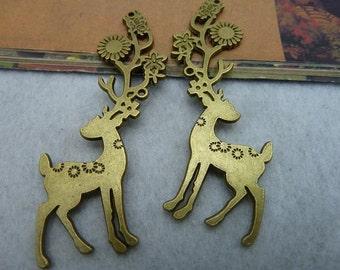 5pcs 36*74mm antique bronze deer animal charms pendant C2294