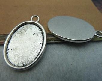 10pcs 25x18mm antique silver cabochon pendant settings C2457