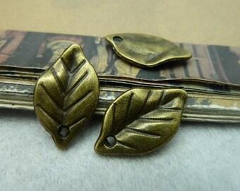 30pcs 12*23mm antique bronze leaf charms pendant C6012