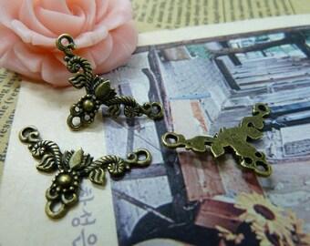 20pcs 15×27mm antique bronze flower link charms pendant C1103