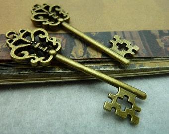 10pcs 19*57mm antique bronze key charms pendant C5757
