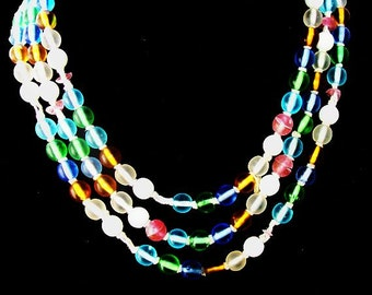 """Czech Pastel Glass Bead Necklace String Hand Made Long Beads 54"""" Vintage Art Deco"""
