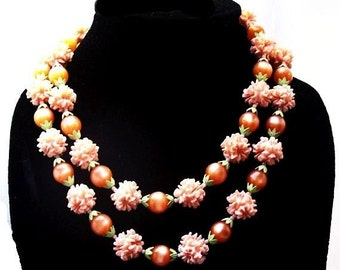 Two Strand Necklace Pink Shell & Peach Lucite Beads Fancy Clasp Gold Metal 1950s Vintage