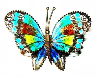 "Plique a Jour Butterfly Brooch Multi Color Enamel Filigree 800 Fine Silver 1 1/2"" Vintage"