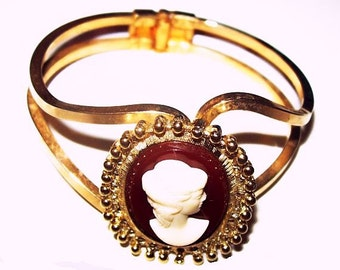 """Cameo Cuff Bracelet Gibson Girl Gold Metal Wire Bands Hinged 1.5"""" W Vintage"""