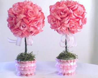 Pink Silk Flower Centerpieces, Pink Roses, Baby Shower Decorations, Majesticsilkflowers