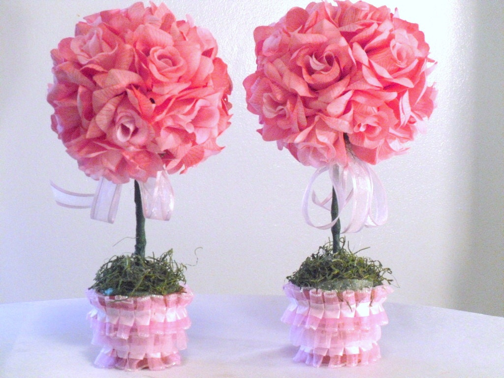 Pink silk flower centerpieces roses baby shower