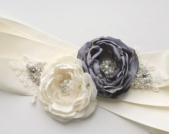Ivory and Grey Bridal Flower Sash, Wedding Floral Sash, Wedding Sash, Bridal Sash, Grey Bridal Sash, Wedding Dress Sash, Crystal Beaded Sash